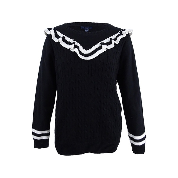 92651b865 Tommy Hilfiger Women's Cotton Ruffled Sweater (XXL, Black/Vanilla) -  Black/Vanilla - XXL