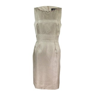 Tahari ASL Women's Embellished Textured Sheath Dress - Champagne Gold