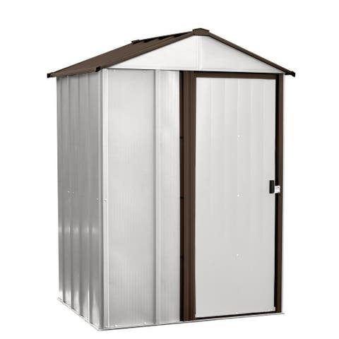 """Arrow Newburgh Galvanized Steel Shed 6' x 5' with 67"""" Wall Height With doors / NW65"""