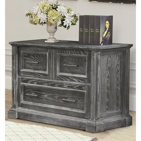 Q-Max Lateral File Cabinet with Storage Drawer and File Drawer in Vintage Burnished Smoke