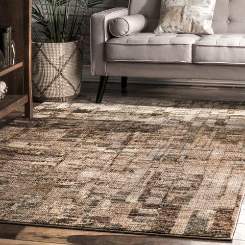 nuLOOM Contremporary Abstract Melange Faded Mural Area Rug