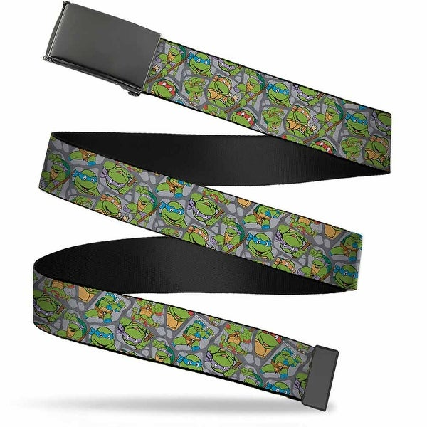Blank Black Buckle Classic Tmnt Expression & Pose Turtle Shell Web Belt