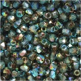 True2 Czech Fire Polished Glass, Faceted Round 2mm, 50 Pieces, Aqua Orange Rainbow