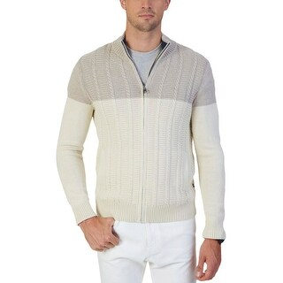 Nautica Mens Full Zip Sweater Cable Knit Ribbed Trim