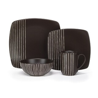 Cuisinart CDST1-S4B Stoneware Arette Collection 16-Piece Dinnerware Sets - Brown