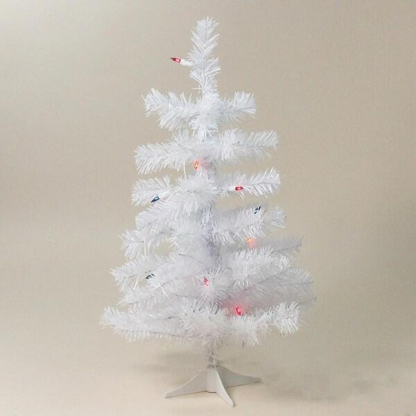 "2' x 12"" Pre-Lit Slim White Tinsel Artificial Christmas Tree - Multi Lights"