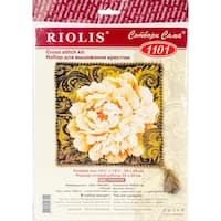 """White Peony Cushion Counted Cross Stitch Kit-13.75""""X13.75"""" 14 Count"""