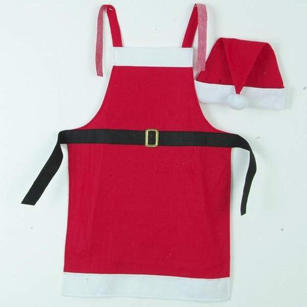 Festive Red & White Christmas Apron and Santa Claus Hat 2-Piece Set - Adult Size - black