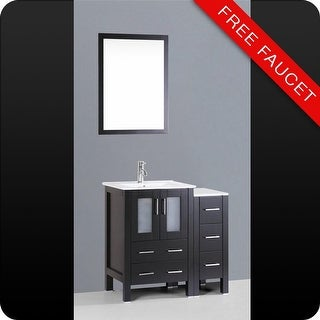 "Bosconi A124U1S 36"" Free Standing Vanity Set with Wood Cabinet, Ceramic Top, 1.2 GPM Faucet, Undermount Sink, and Mirror"