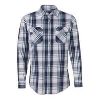 Burnside Long Sleeve Plaid Shirt - Navy - L