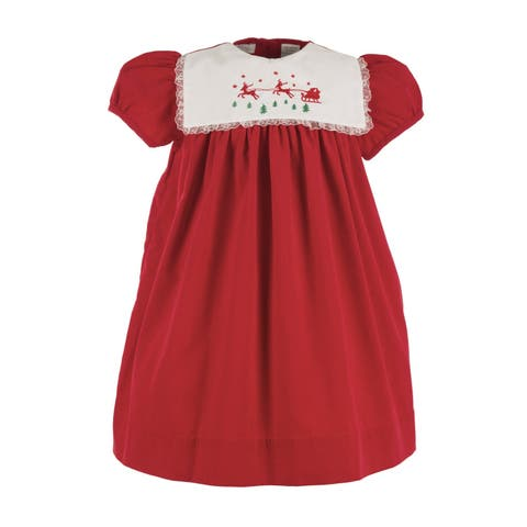 92e2bff7b14ea Little Girls Red White Lace Trim Reindeer Short Sleeved Christmas Dress