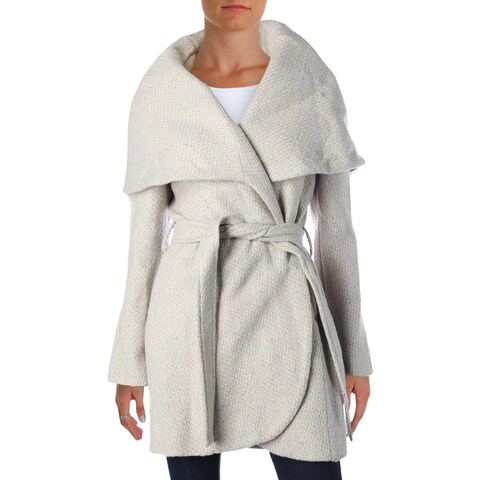 T Tahari Womens Marla Wrap Coat Tweed Oversized Collar
