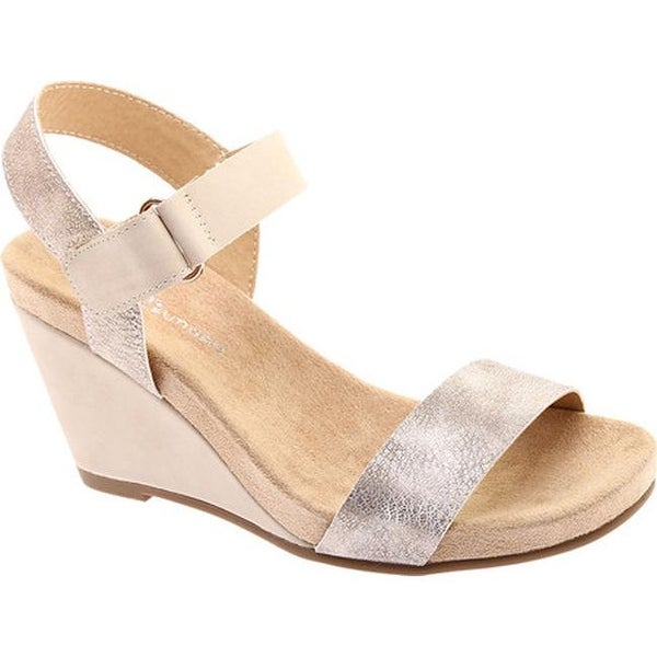 eac8c9562e46 Chinese Laundry Women  x27 s CL Trudy Wedge Sandal Royal Tumble Smooth  Nubuck