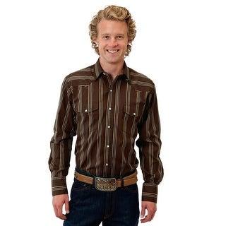 Roper Western Shirt Mens L/S Snap Stripes Brown 01-001-0044-0112 BR