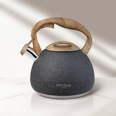 Poliviar Tea Kettle 2.7 qt. Whistling Food Grade Stainless Steel Stove - 7.87x7.87x9.05