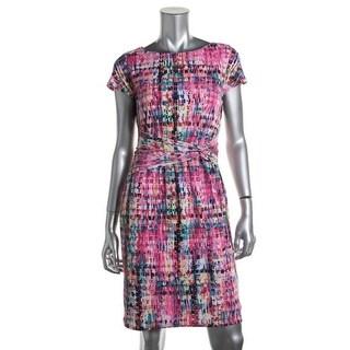 Ellen Tracy Womens Printed Knee-Length Wear to Work Dress