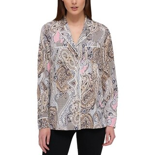 Tommy Hilfiger Womens Casual Top Paisley Printed Button Down