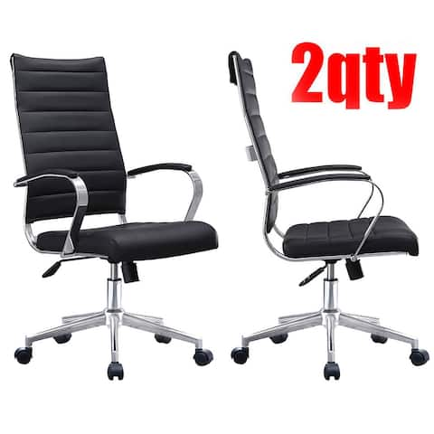 2xhome Set of Two (2) Modern Black High Back Office Chair Ribbed PU Leather Swivel Tilt Computer Desk Chair