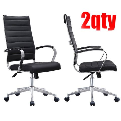 Set of Two (2) Modern Black High Back Office Chair Ribbed PU Leather Swivel Tilt Computer Desk Chair