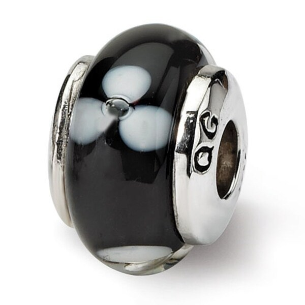 Sterling Silver Reflections Kids Black Hand-blown Glass Bead (4mm Diameter Hole)