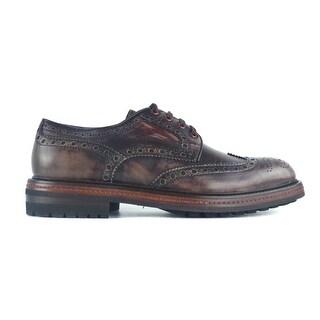 Santoni Mens Burgundy Leather Brogue Derby Shoes