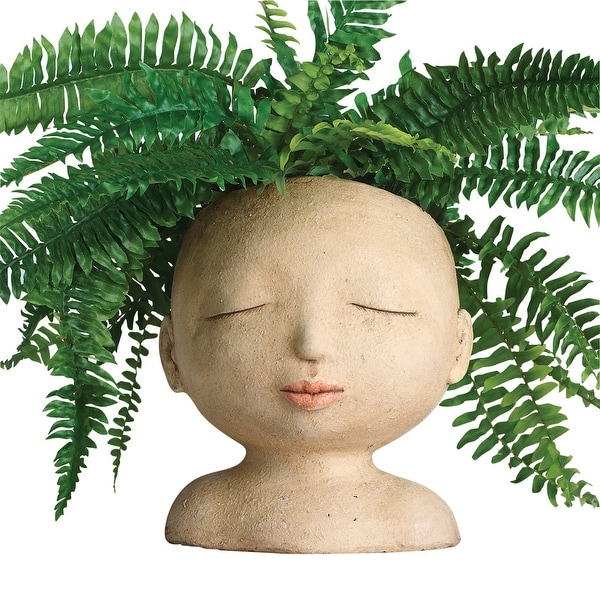 """Art & Artifact Head of a Lady Indoor/Outdoor Resin Planter - Plants Look Like Hair, 9"""" Tall - Woman - 8 in. x 9 in. x 8 in."""