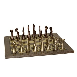 Brass Art Deco Chess Set With Grey Briar Board - Multicolored