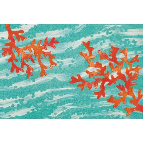 """Liora Manne Illusions Coral Wave Indoor/Outdoor Mat Aqua 1'7"""" x 2'5"""""""