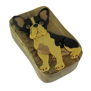 Hand Carved Wood 3D Boston Terrier Puzzle Trinket Box - 2.5 X 5.5 X 3.5 inches