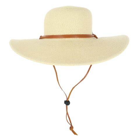 Angela & William Women's Straw Floppy Hat with Leather Band - Natural