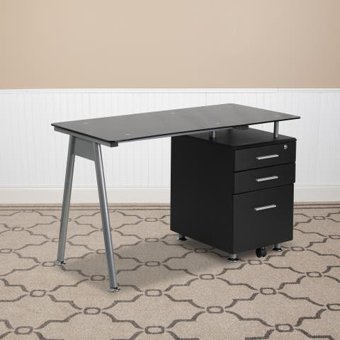 Computer Desk with Tempered Glass Top and Three Drawer Pedestal