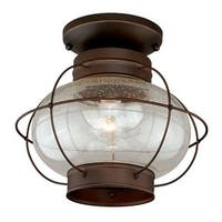 Vaxcel Lighting T0145 Chatham 1 Light Semi-Flush Mount Outdoor Ceiling Fixture with Clear Seeded Glass Shade and Metal Guard -