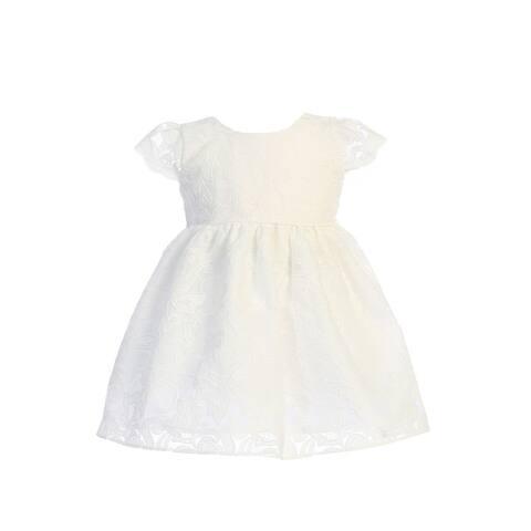 Sweet Kids Off-White Embroidered Organza Flower Girl Dress Baby Girls