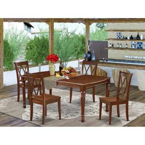 """Rectangular 60/78 Inch Table with 18"""" Leaf and Double X Back Chairs - Mahogany Finish (Pieces Option)"""