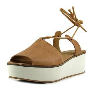 Lucky Brand Jaxson Women Open Toe Leather Gray Platform Sandal