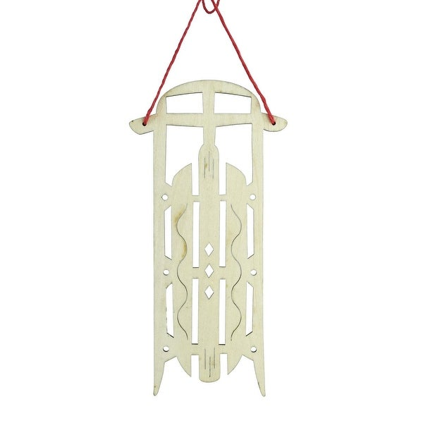 "7.5"" Holiday Moments Old Fashioned Wooden Sled with Diamond Cut-Outs Christmas Ornament"