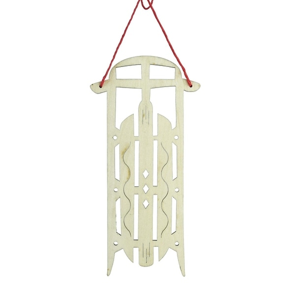 "7.5"" Holiday Moments Old Fashioned Wooden Sled with Diamond Cut-Outs Christmas Ornament - brown"