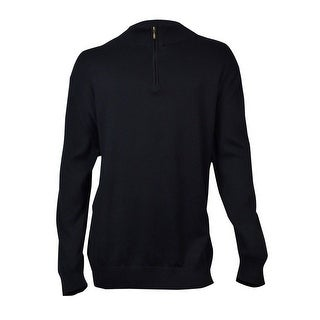 John Ashford Men's Solid Quarter-Zip Sweater (Deep Black, 4XB) - Deep Black - 4xb