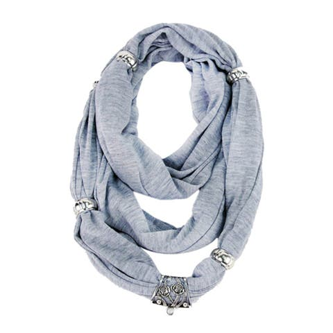 Fashionable Soft Eternity Scarf with Moveable Slider Beads