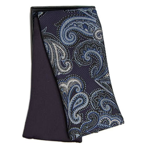 Men's Paisley and Solid Reversible Selftie Bow Tie With Matching Hanky BT43 - Regular