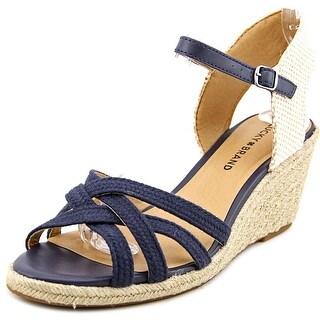 Lucky Brand Kalley3 Women  Open Toe Canvas Blue Wedge Sandal