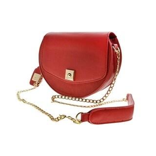 Cicel Girl PU Leather Shoulder Bag Ladies Semi-circular Messenger bag Red