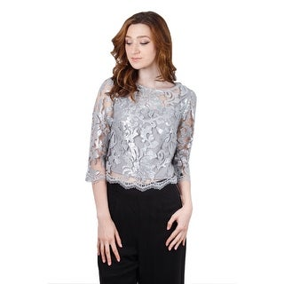 3/4 Sleeve Sequin Lace Blouse