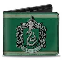 Slytherin Crest Stripe6 Weathered Greens Grays Bi Fold Wallet - One Size Fits most