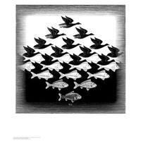 ''Sky and Water'' by M.C. Escher Optical Art Art Print (25.625 x 21.75 in.)