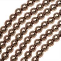 Dazzle It! Czech Glass Pearls, 6mm Round, 1 Strand, Bronze