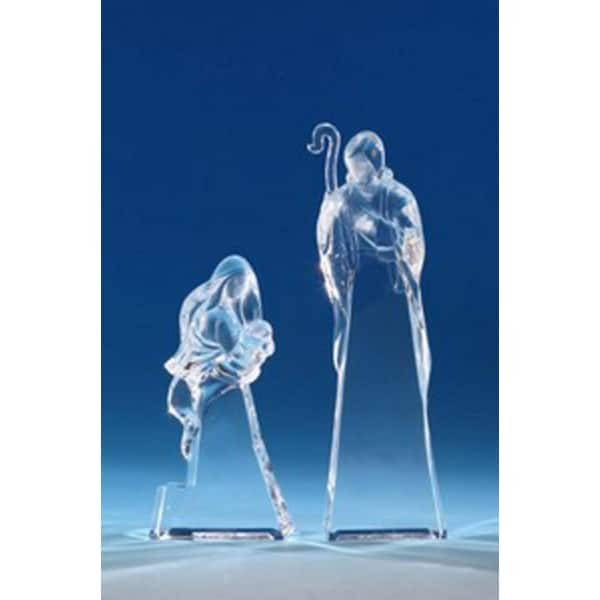 """Pack of 4 Icy Crystal Religious Holy Family Christmas Nativity Figurines 7.5"""" - CLEAR"""