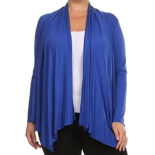 Women Plus Size Long Sleeve Jacket Casual Cover Up Royal