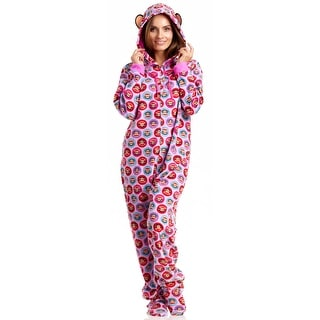 Paul Frank Classics 1 Piece Hooded Pajamas With Feet - Hot Pink