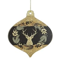 """4"""" Gold and Black Woodland Buck Silhouette Onion Christmas Ornament"""